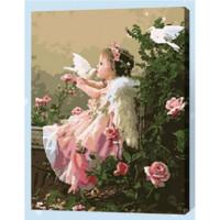 Allegro 4296 Картина по номерам 40*50 в раме Девочка и голуби Е258 (26 цветов, 4 звезды)