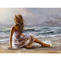 Allegro 4245 Картина по номерам 40*50 в раме Девушка у моря Е957 (24 цвета, 3 звезды)