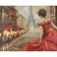 Allegro 3711 Картина по номерам 40*50 в раме Девушка в красном 0904