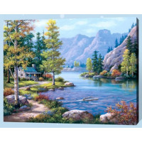 Allegro 4240 Картина по номерам 40*50 в раме Домик у озера Е769 (25 цветов, 4 звезды)