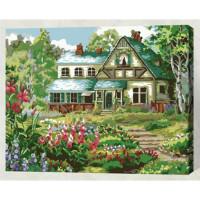 Allegro 4329 Картина по номерам 40*50 в раме Домик в цветах Е048 (24 цвета, 4 звезды)