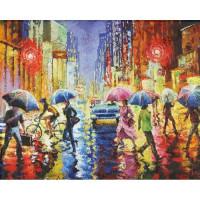 Allegro 3676 Картина по номерам 40*50 в раме Дождь на улицах 0360