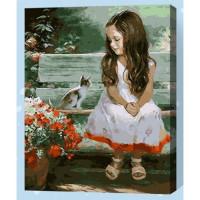 Allegro 4322 Картина по номерам 40*50 в раме Две малышки Е091 (23 цвета, 3 звезды)