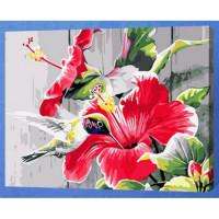 Allegro 4338 Картина по номерам 40*50 в раме Гибискусы Е119 (24 цвета, 3 звезды)