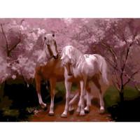 Allegro 4288 Картина по номерам 40*50 в раме Кони в розовом Е897 (24 цвета, 3 звезды)
