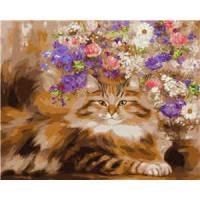 Allegro 3837 Картина по номерам 40*50 в раме Кот и букет цветов