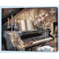 Allegro 4299 Картина по номерам 40*50 в раме Кот у рояля Е483 (23 цвета, 3 звезды)