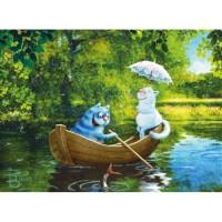 Allegro 3832 Картина по номерам 40*50 в раме Коты на лодке
