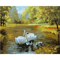 Allegro 3856 Картина по номерам 40*50 в раме Лебеди на озере