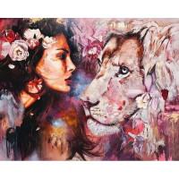 Allegro 3830 Картина по номерам 40*50 в раме Лев и девушка