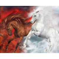 Allegro 3679 Картина по номерам 40*50 в раме Лошади 0483