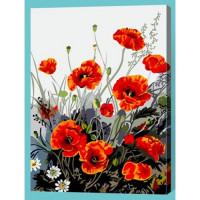 Allegro 4320 Картина по номерам 40*50 в раме Маки на лугу Е322 (22 цвета, 3 звезды)