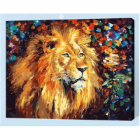 Allegro 4294 Картина по номерам 40*50 в раме Величественный лев Е144 (24 цвета, 3 звезды)
