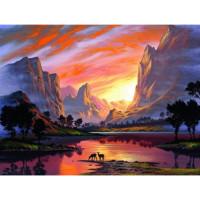 Allegro 4243 Картина по номерам 40*50 в раме Закат в горах Е977 (24 цвета, 3 звезды)