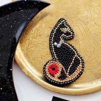 Абрис Арт 558596 Набор для вышивки бисером украшения на натур. художественном холсте 'Леди' 4,5*7,0см АД-048