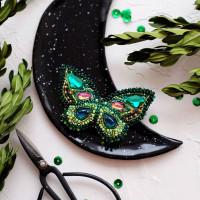 Абрис Арт 613878 Набор для вышивки бисером украшения на натур. художественном холсте 'Изумрудный август'7,0*4,0см АД-035