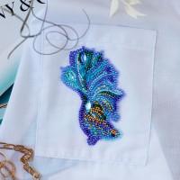 Абрис Арт 618049 Набор для вышивки бисером украшения на натур. художественном холсте 'Синее золото-А' 5,7*9,7 см АД-112