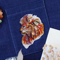 Абрис Арт 618050 Набор для вышивки бисером украшения на натур. художественном холсте 'Огнегривый лев-А' 6,8*9,1см АД-113