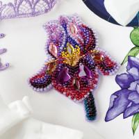 Абрис Арт 618051 Набор для вышивки бисером украшения на натур. художественном холсте 'Аметистовый Ирис' 7,3*8,9см АД-200
