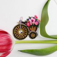 Абрис Арт 618055 Набор для вышивки бисером украшения на натур. художественном холсте 'Велосипедик' 7*5,7см АД-205