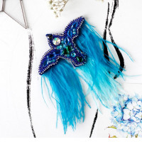 Абрис Арт 618066 Набор для вышивки бисером украшения на натур. худож. холсте 'Синяя птица' 9,5*6,5см АД-095