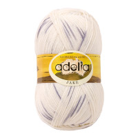 "Пряжа ADELIA ""JAKE"" 75% шерсть, 25% нейлон 100 г 400 м ± 15 м Цвет 01 белый/серый"