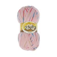 """Пряжа ADELIA """"JAKE"""" 75% шерсть, 25% нейлон 100 г 400 м ± 15 м Цвет 04 розовый/красный/зеленый/голубой"""
