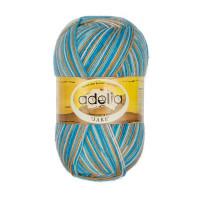 """Пряжа ADELIA """"JAKE"""" 75% шерсть, 25% нейлон 100 г 400 м ± 15 м Цвет 22 белый-песочный-бирюзовый-голубой"""