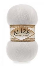 Пряжа Alize Angora Gold (Ализе Ангора Голд) Цвет 55 белый