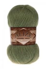 Пряжа для вязания Alize Angora Gold Simli (Ализе Ангора Голд Симли) Цвет 345 хаки