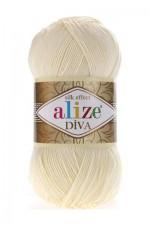 Пряжа для вязания Alize Diva (Ализе Дива) Цвет 01 молочный