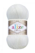 Пряжа для вязания Alize Diva (Ализе Дива) Цвет 1055 сахарно белый