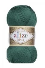 Пряжа для вязания Alize Diva (Ализе Дива) Цвет 453 темно зеленый