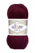 Пряжа для вязания Alize Diva (Ализе Дива) Цвет 57 бордовый