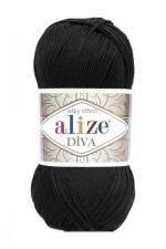 Пряжа для вязания Alize Diva (Ализе Дива) Цвет 60 черный