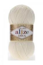 Пряжа для вязания Alize Diva (Ализе Дива) Цвет 62 кремовый