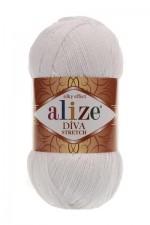 Пряжа для вязания Alize Diva Stretch (Ализе Дива Стрейч) Цвет 55 белый