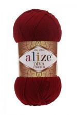 Пряжа для вязания Alize Diva Stretch (Ализе Дива Стрейч) Цвет 57 бордовый