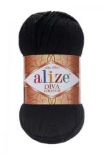 Пряжа для вязания Alize Diva Stretch (Ализе Дива Стрейч) Цвет 60 черный