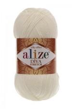 Пряжа для вязания Alize Diva Stretch (Ализе Дива Стрейч) Цвет 62 кремовый