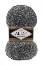 Пряжа Alize Lanagold (Ализе Лана Голд) Цвет 601 черно белый