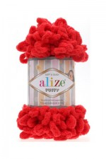 Пряжа для вязания Alize Puffy (Ализе Пуффи) Цвет 56 красный