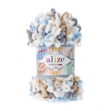 Пряжа для вязания Alize Puffy Fine Color (Ализе Пуффи Файн Колор)
