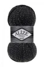 Пряжа для вязания Alize Superlana Maxi (Ализе Суперлана Макси) Цвет 600 черно серый