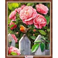 "Алмазная живопись АЖ-1743 ""Алмазная живопись"" АЖ-1743 ""Птичка в саду"" 40 х 50 см"