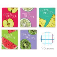 """АЛЬТ 7-96-1159 Тетрадь А5 96 л. АЛЬТ скоба, клетка, гибридный лак, """"Fresh & Fruity"""" (5 видов), 7-96-1159"""