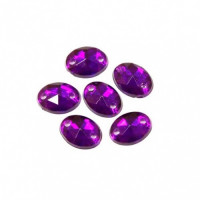 Астра 22 т.пурпур Стразы пришивные, акриловые, 6*8мм, 20шт/упак (овальные) Астра 22 т.пурпур