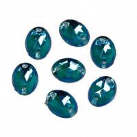 Астра 32 голубой Стразы пришивные, акриловые, 6*8мм, 20шт/упак (овальные) Астра 32 голубой