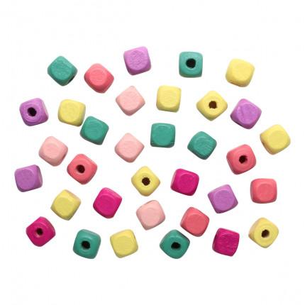 Бусины деревянные, цветной микс,куб, 10мм, 18гр/упак, Астра 4AR397 Светлый