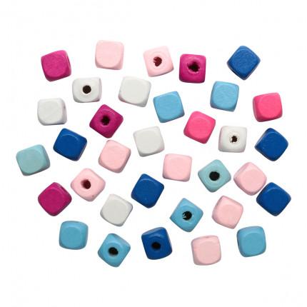 Бусины деревянные, цветной микс,куб, 10мм, 18гр/упак, Астра 4AR397 Сине-розовый